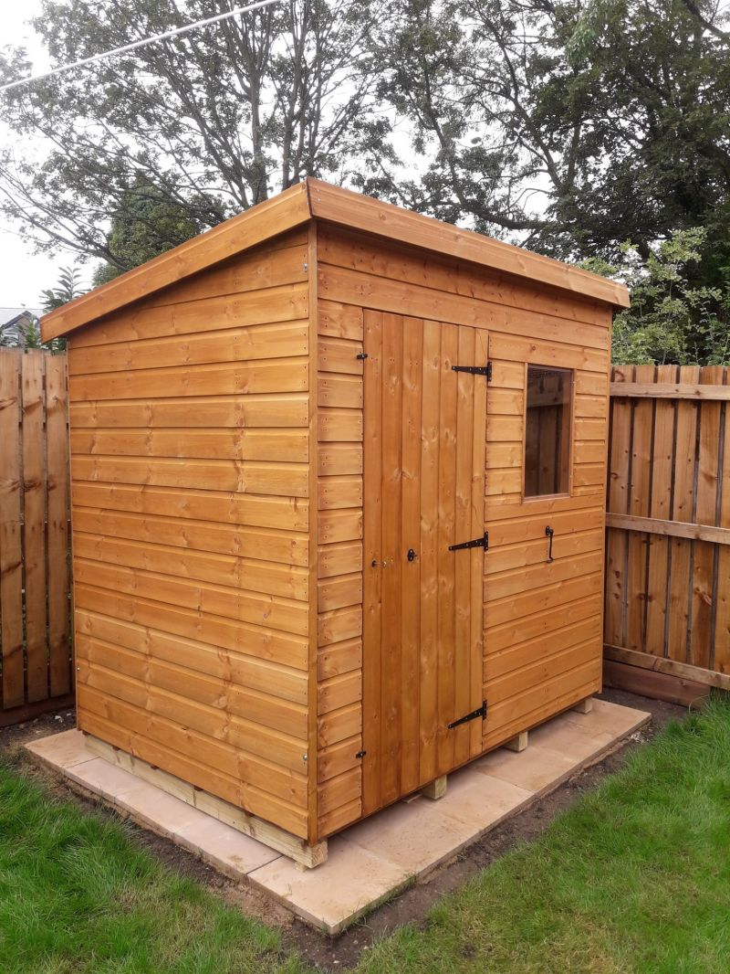 12mm Pent Garden Shed with right hand door