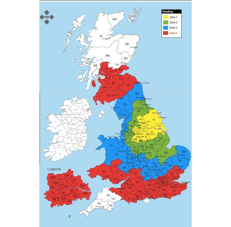 UK Delivery zone maps