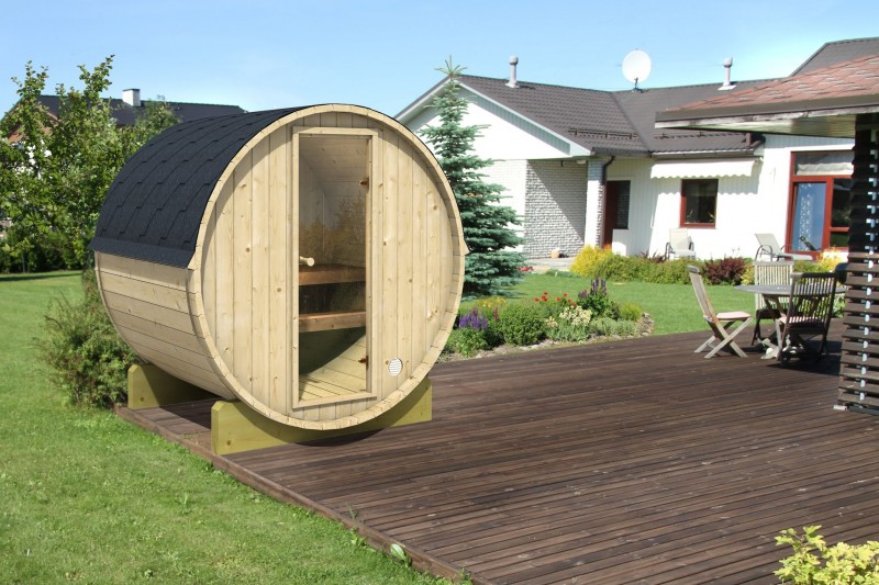 sauna small on decking in small garden Barnsl
