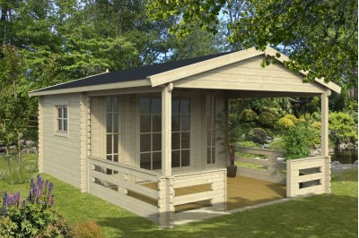 40mm summer room Barnsley Log cabin with verandah