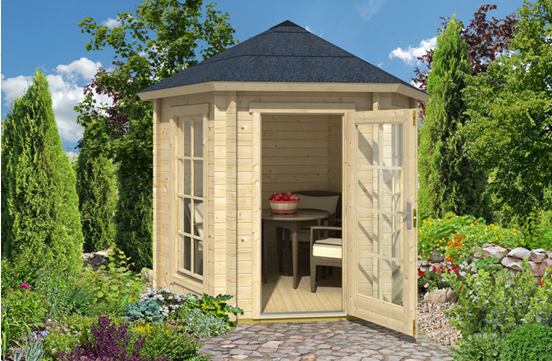 Garden image with cabin in centre surrounded by flowers