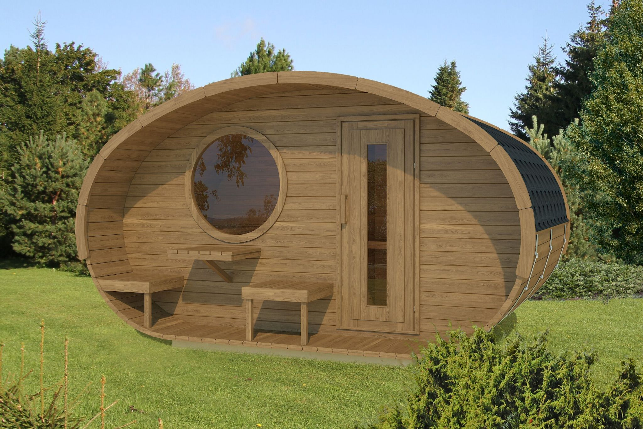Mushroom sauna with terrace perfect for gatherings