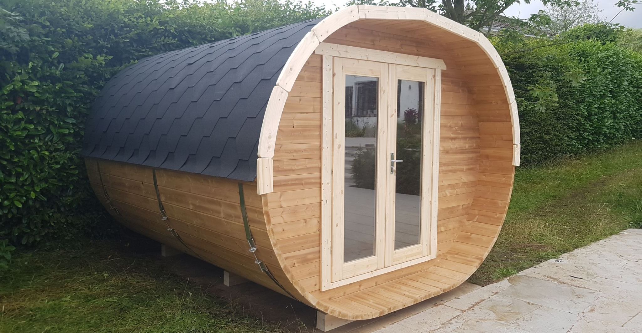 Oval camping pod 42mm walls delivered by Aardvark joinery UK wide