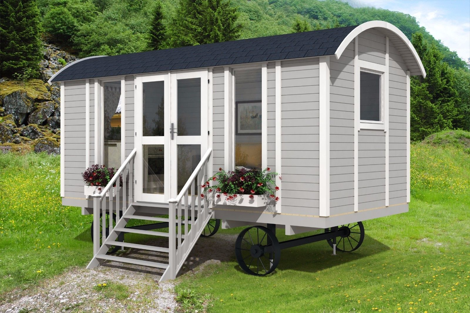 shepherds hut 4.8m in garden setting traditional gypsy wago